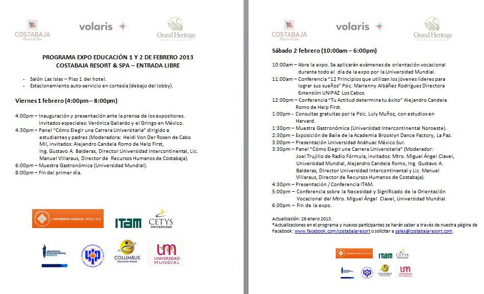 Programa Expo Educacion 2013